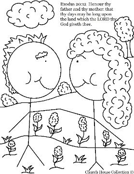 Honor Thy Father And Thy Mother Coloring Page