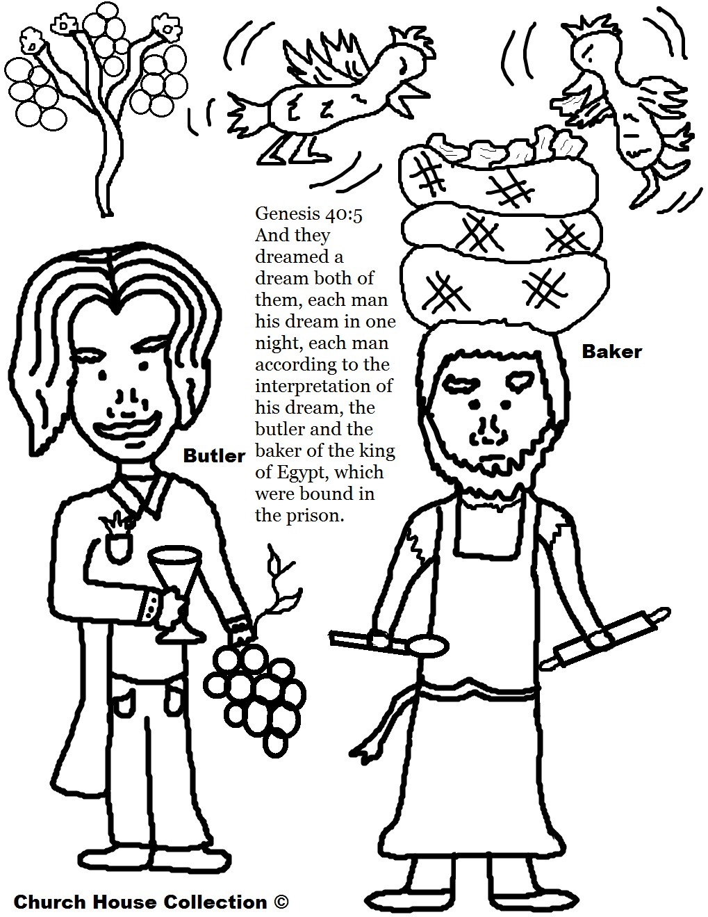 Josephs Butler and Baker Dreams Coloring Page