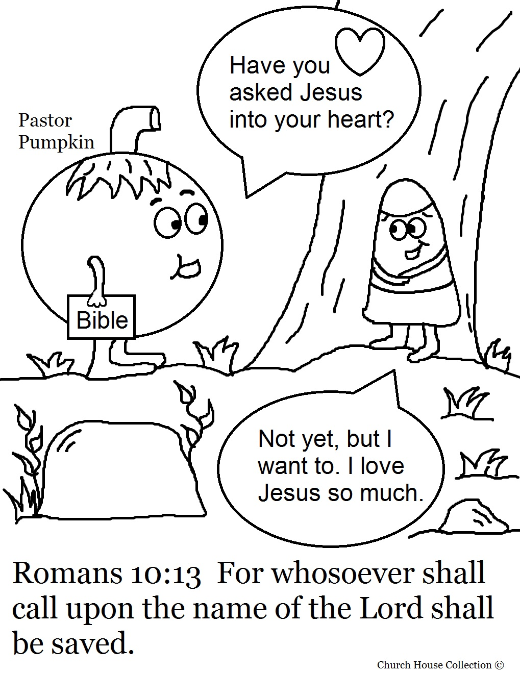 Pastor Pumpkin And Candy Corn Coloring Page