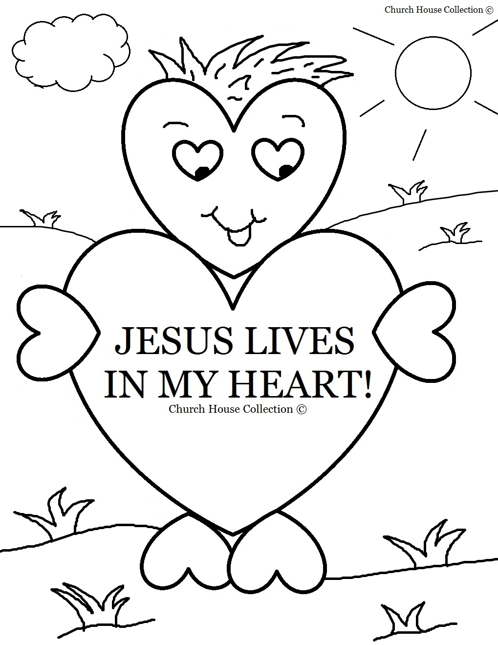 Valentine Jesus Lives In My Heart Coloring Page