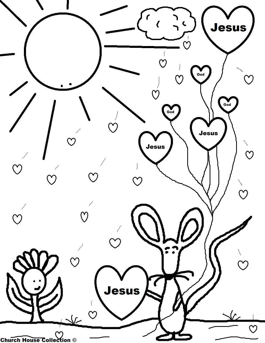 Mouse Holding Jesus Balloons Coloring Page