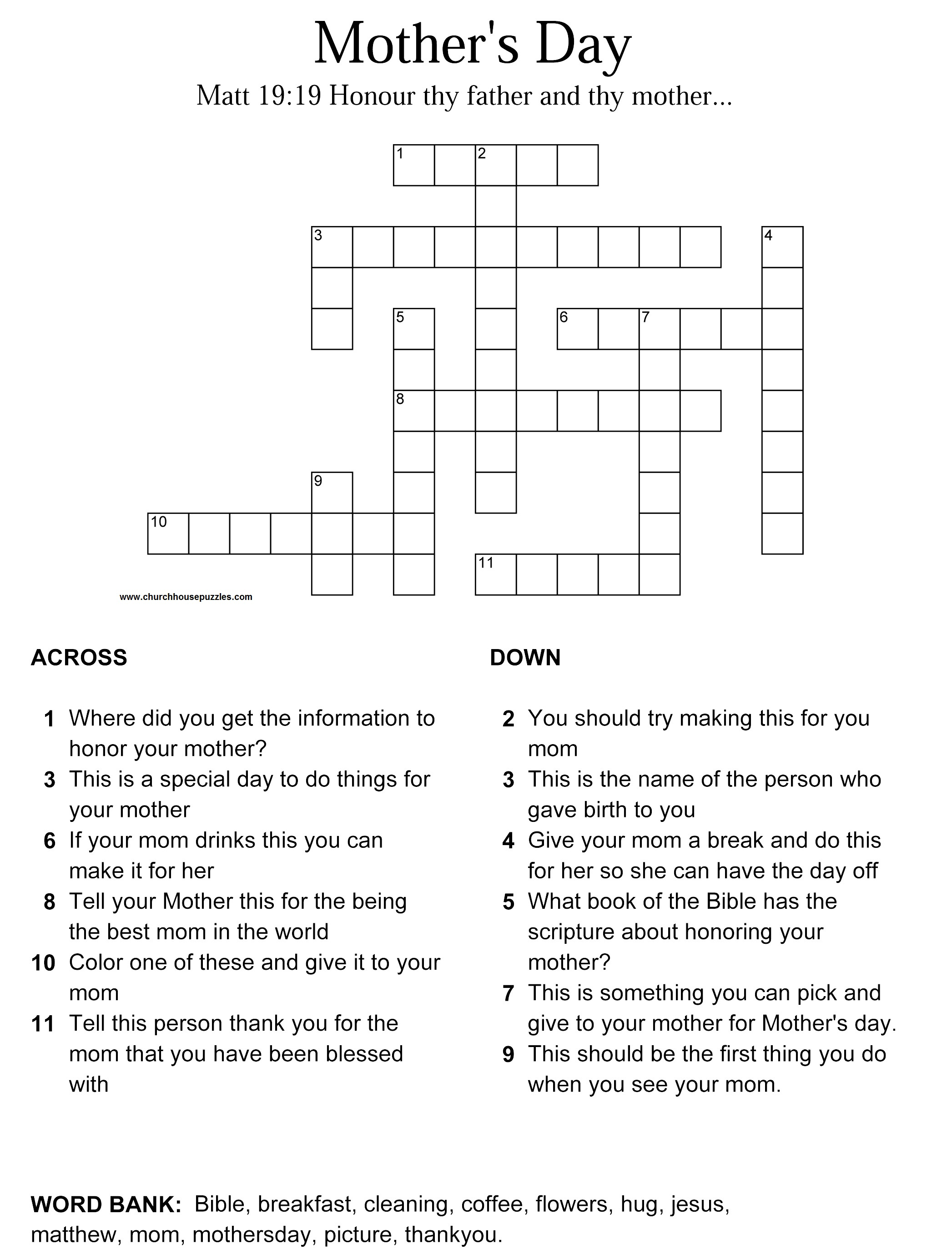 Mother S Day Crossword Puzzle