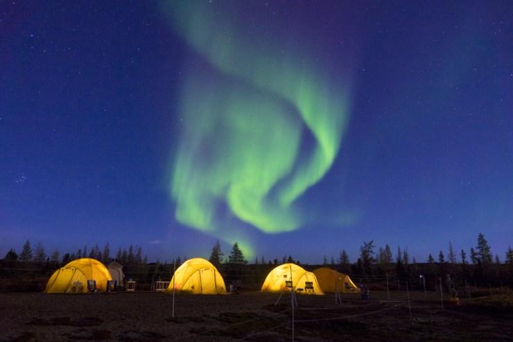 Tundra Tent Camp under northern lights. Jad Davenport photo.