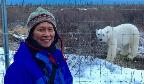 Virginia Huang on Great Ice Bear Adventure at Dymond Lake EcoLodge.