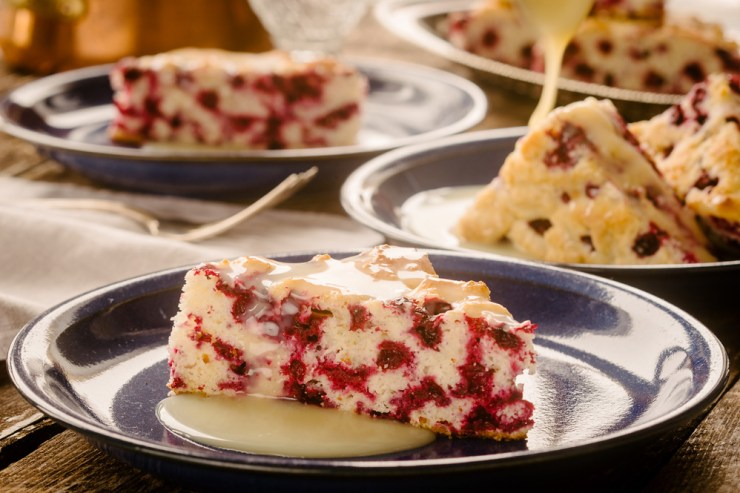 Cranberry Cake with Warm Butter Sauce. Shel Zolkewich and Ian McCausland photo.