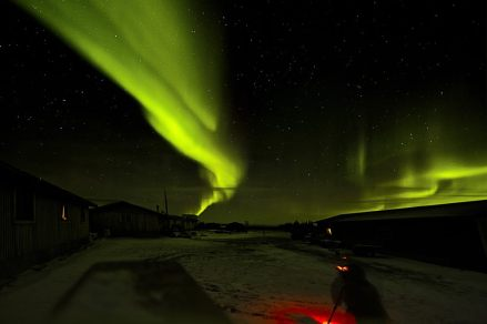 Northern Lights over Nanuk Polar Bear Lodge. Skip Kask.