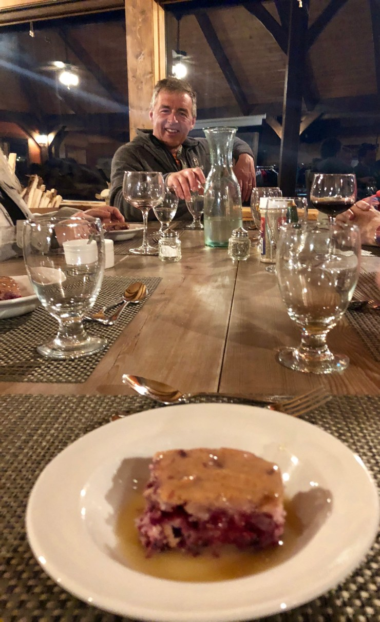 Dessert and Churchill Wild co-owner Mike Reimer. Arctic Cranberry Cake with Warm Butter Sauce!