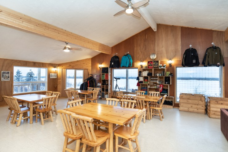 Dining room at Dymond Lake Ecolodge sits quiet while guests are out walking with polar bears. Scott Zielke photo.