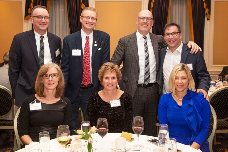 2019 Minister's Dinner. Back Row L to R: Bruce Gray, Deputy Minister of Sustainable Development; Scott Stephens, Director Regional Operations Conservation Ducks Unlimited Canada; Keith LaBossiere, Managing Partner Thompson Dorfman Sweatman LLP.; Daniel Brunet. Front Row L to R: Nathalie Bays, Manager of Interpretive Centre Operations; Dr. Karla Guyn, CEO Ducks Unlimited Canada; The honourable Rochelle Squires, Minister of Sustainable Development.