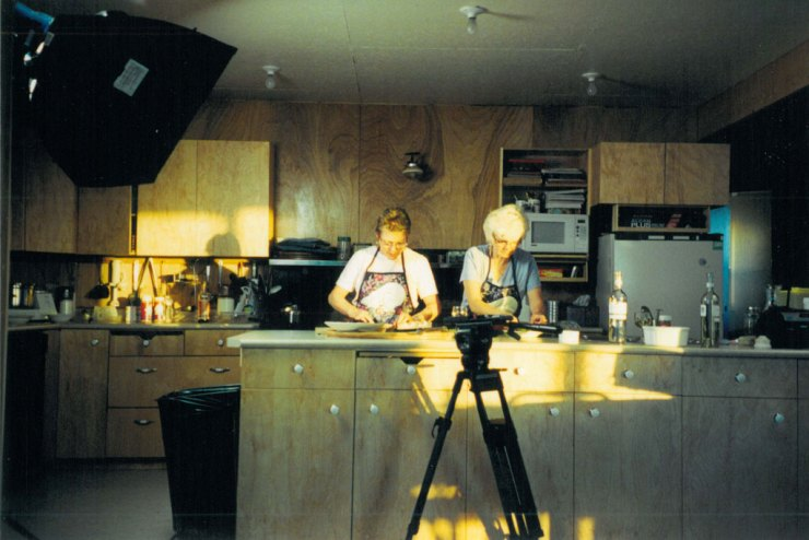 Early days! Marie and Helen on set at Dymond Lake Ecolodge for the Great Canadian Food Show in the 1990s.