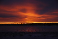 Sunset at Dymond Lake Ecolodge. Margaret Brandes photo.