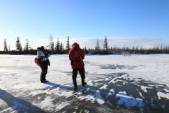 Walking with polar bears. Dymond Lake.