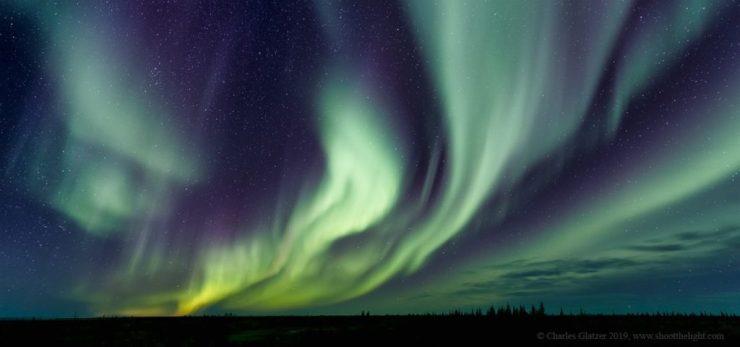 Northern lights at Nanuk Polar Bear Lodge. Charles Glatzer photo.