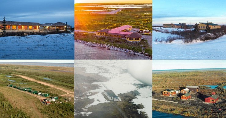 Churchill Wild Ecolodges. Before (bottom row) and After. L to R Nanuk Polar Bear Lodge, Seal River Heritage Lodge, Dymond Lake Ecolodge.