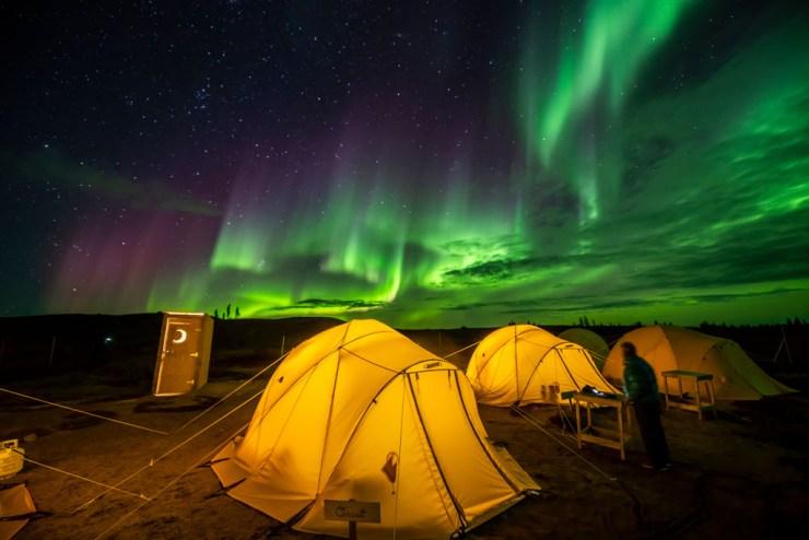Northern lights over Tundra Camp on Churchill Wild's Arctic Safari. Jad Davenport photo