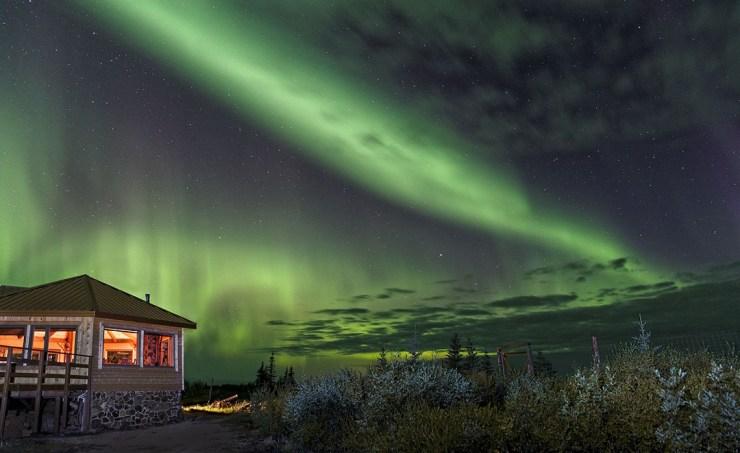 Northern lights crackling over Nanuk Polar Bear Lodge. Charles Glatzer photo.