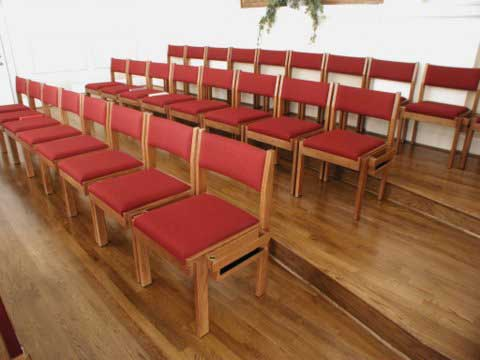 wooden church choir chairs travel beach chair umbrella oak lock ply harp bent interiors
