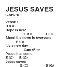 Free Chord Chart: Jesus Saves, by Tim Hughes