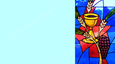 Bread and wine stained glass Teal Christian Worship Background. High quality worship images for use to spread the Gospel and enhance the worship experience.