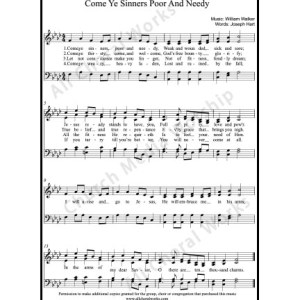 Come ye sinners poor and needy Sheet Music (SATB) Make unlimited copies of sheet music and the practice music.