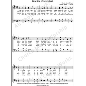 God the omnipotent Sheet Music (SATB) Make unlimited copies of sheet music and the practice music.