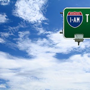 I am the Way street sign Christian Worship Background. High quality worship images for use to spread the Gospel and enhance the worship experience. Teachings of Jesus