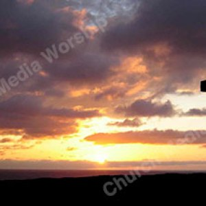 Jesus Cross Sunset silhouette Christian Worship Background. High quality worship images for use to spread the Gospel and enhance the worship experience.