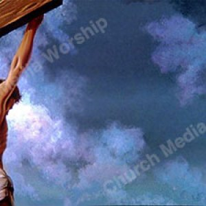 Jesus on the cross painting Christian Worship Background. High quality worship images for use to spread the Gospel and enhance the worship experience.