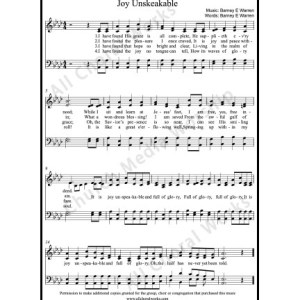 Joy unspeakable Sheet Music (SATB) Make unlimited copies of sheet music and the practice music.