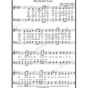 My Saviors love Sheet Music (SATB) Make unlimited copies of sheet music and the practice music.