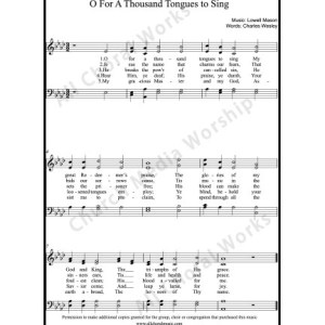 O for a thousand tongues to sing Sheet Music (SATB) Make unlimited copies of sheet music and the practice music.