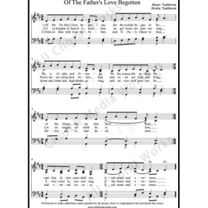 Of the Fathers love begotten Sheet Music (SATB) Make unlimited copies of sheet music and the practice music.