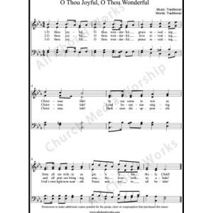 O thou joyful O thou wonderful Sheet Music (SATB) Make unlimited copies of sheet music and the practice music.