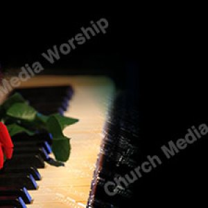 Piano With a Rose Christian Worship Background. High quality worship images for use to spread the Gospel and enhance the worship experience.