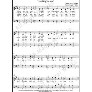 Trusting Jesus Sheet Music (SATB) Make unlimited copies of sheet music and the practice music.