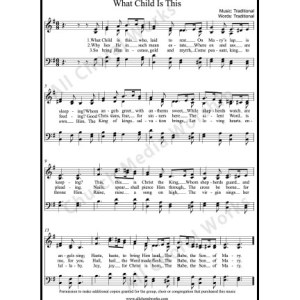 What Child is This Sheet Music (SATB) Make unlimited copies of sheet music and the practice music.