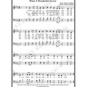 What a wonderful savior Sheet Music (SATB) Make unlimited copies of sheet music and the practice music.