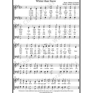 Whiter than snow Sheet Music (SATB) Make unlimited copies of sheet music and the practice music.