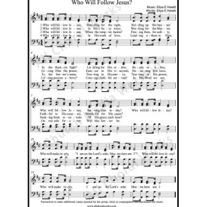 Who Will Follow Jesus Sheet Music (SATB) Make unlimited copies of sheet music and the practice music.