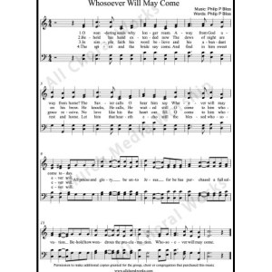 Whosoever Will May Come Sheet Music (SATB) Make unlimited copies of sheet music and the practice music.