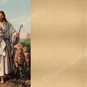Gentle Shepherd Painting cream Christian Worship Background. High quality worship images for use to spread the Gospel and enhance the worship experience.