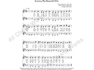 America The Beautiful Female Choir Sheet Music SSA 3-part Make unlimited copies of sheet music and the practice music.