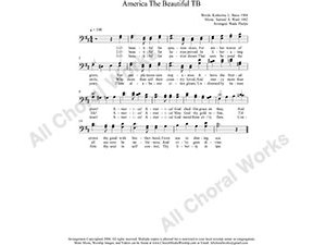 America The Beautiful Male Choir Sheet Music TB 2-part Make unlimited copies of sheet music and the practice music.
