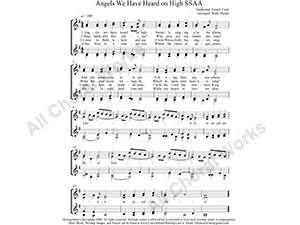 Angels We have Heard on High Female Choir Sheet Music SSAA 4-part Make unlimited copies of sheet music and the practice music.