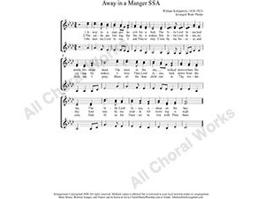 Away in a manger Female Choir Sheet Music SSA 3-part Make unlimited copies of sheet music and the practice music.