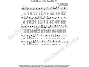 Battle Hymn Male Choir Sheet Music TB 2-part Make unlimited copies of sheet music and the practice music.