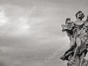 Black and White Stone angel Christian Worship Background. High quality worship images for use to spread the Gospel and enhance the worship experience.