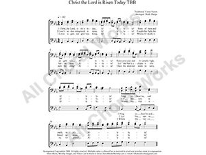 Christ the Lord is Risen Today Male Choir Sheet Music TBB 3-part Make unlimited copies of sheet music and the practice music.