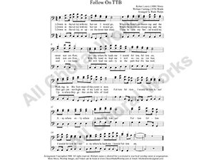 Follow On Male Choir Sheet Music TBB 3-part Make unlimited copies of sheet music and the practice music.
