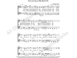Give me Joy in my heart Female Choir Sheet Music SA 2-part Make unlimited copies of sheet music and the practice music.